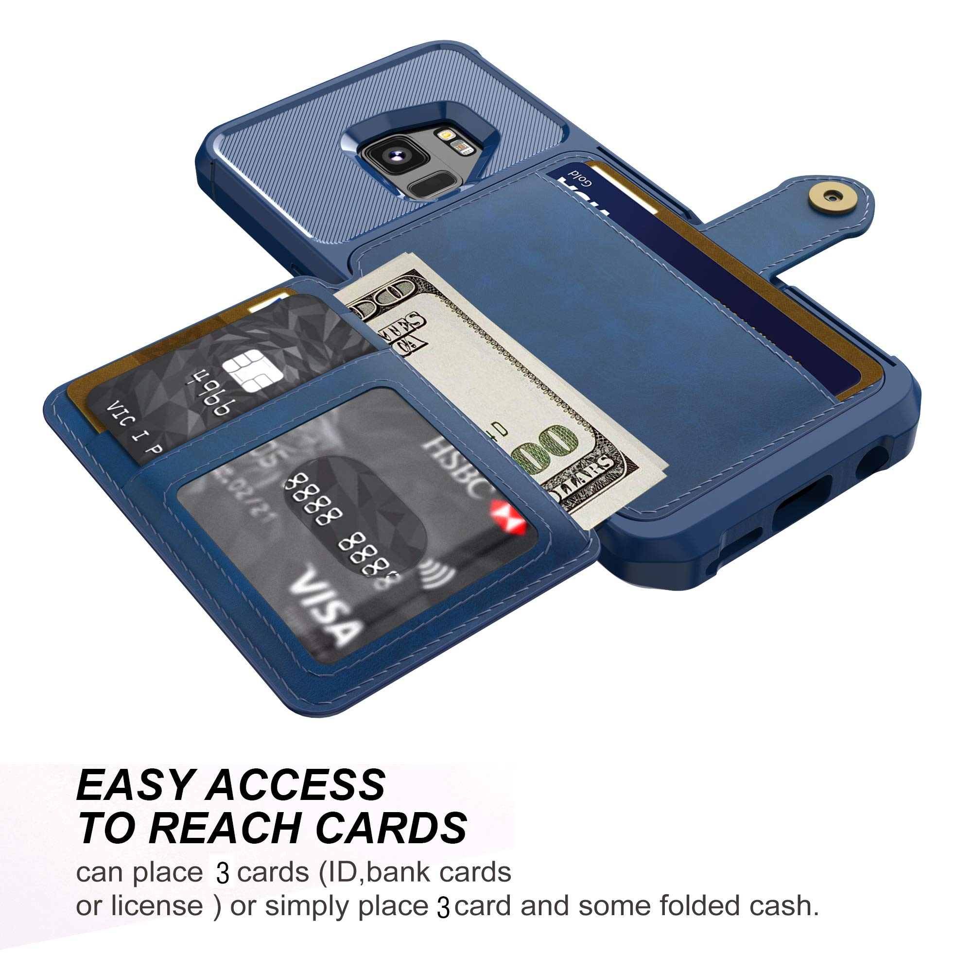 Galaxy S9 Wallet Case, Sumsung S9 Durable Shockproof Slim Magnetic Flip Leather Card Slots Holder Kickstand Protective Case Cover Included Car Phone Mount (Blue)