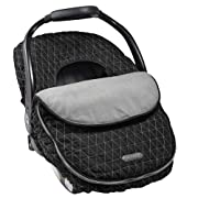 JJ Cole - Car Seat Cover, Weather Resistant Blanket-Style Canopy Designed to Protect from The Cold and Winter Weather, Black Tri Stitch, Birth and Up