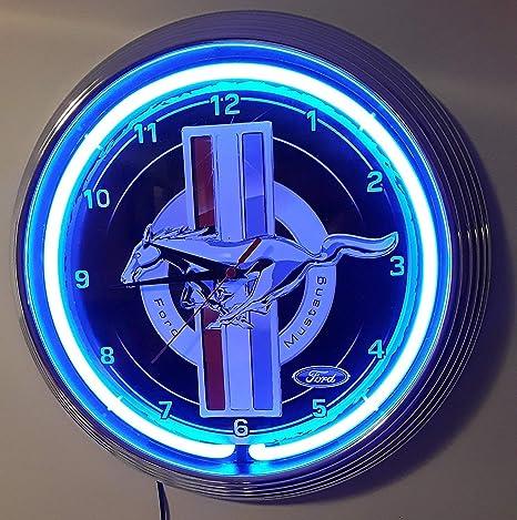 Neon reloj Neon Clock Ford Mustang Garage Cartel Diámetro ...