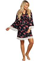 PinkBlush Maternity Floral Lace Trim Delivery/Nursing Robe