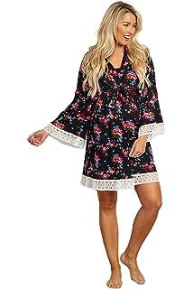 554fa4da807 PinkBlush Maternity Charcoal Crochet Trim Delivery Nursing Robe at ...