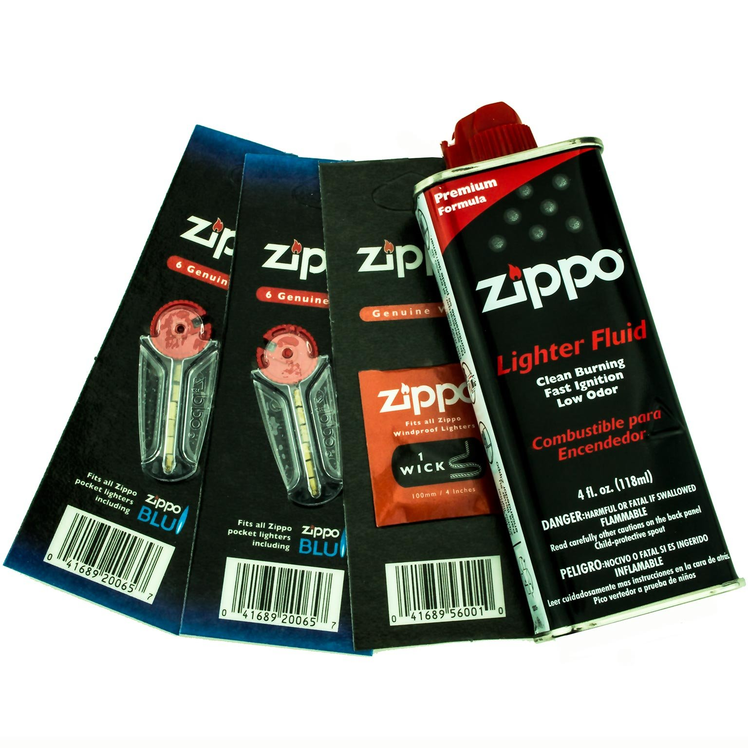 Zippo Gift Set - 4 oz Lighter Fluid 1 Wick Card & 2 Flint Card (12 flints) (Original Version)