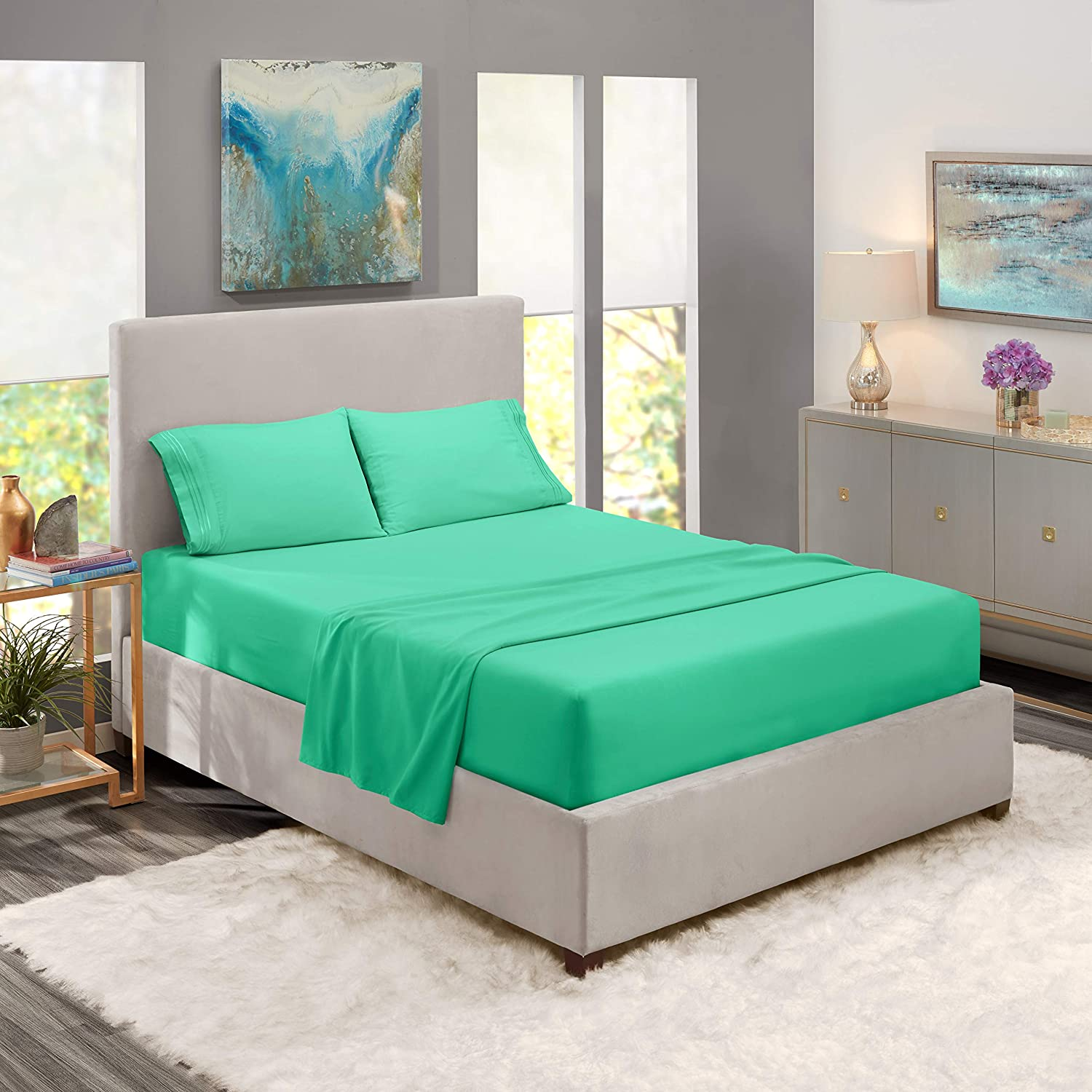 Nestl Bedding Soft Sheets Set – 4 Piece Bed Sheet Set, 3-Line Design Pillowcases – Easy Care, Wrinkle Free – Good Fit Deep Pockets Fitted Sheet – Free Warranty Included – Queen, Mint