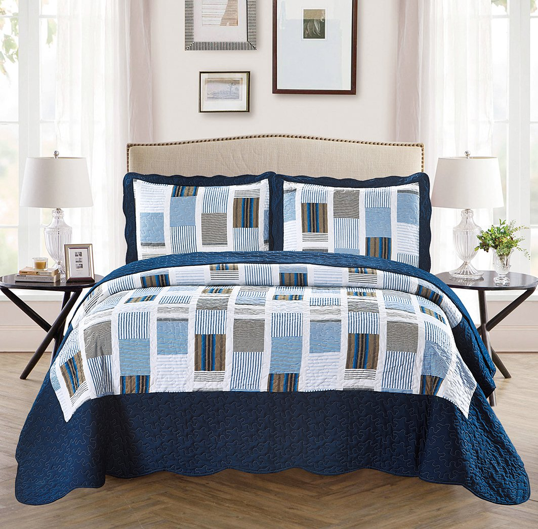 Fancy Collection 3pc Bedspread Bed Cover White Navy Squares (Twin) COMIN16JU032708