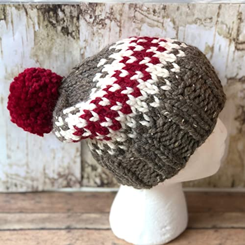 6607e900f2e Image Unavailable. Image not available for. Color  Knitted Fair Isle Beanie  with Pom ...