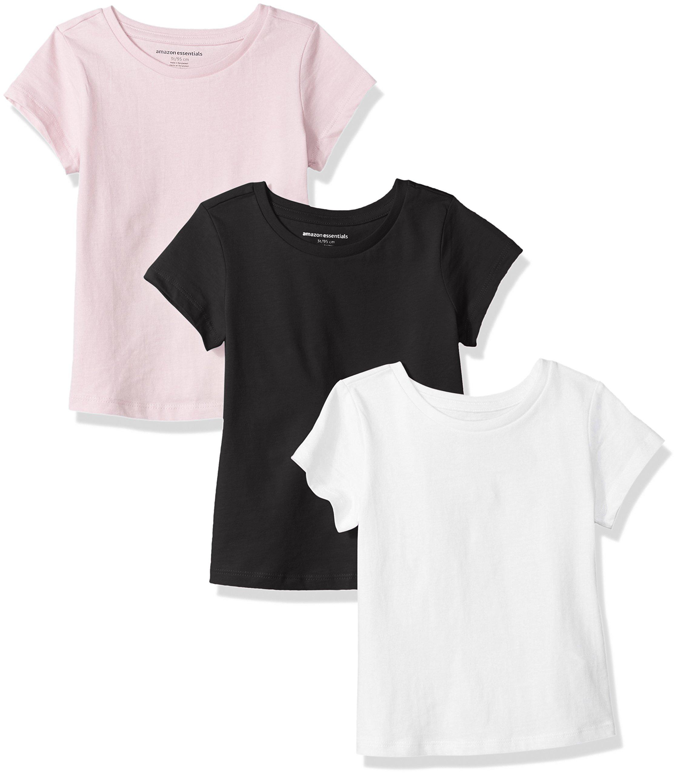 Amazon Essentials Girls' 3-Pack Short-Sleeve Tee, White/Black/Pink, M (8) by Amazon Essentials
