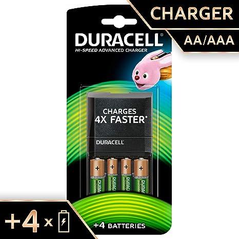 Duracell 15 minutos Cargador de batería con 2 AA y 2 AAA ...