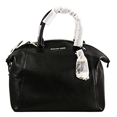 d424a1ae8443 Amazon.com  MICHAEL KORS Riley Large Pebbled-Leather Satchel BLACK  Shoes