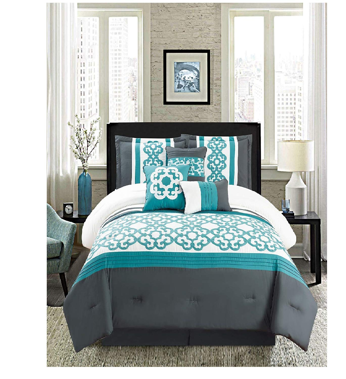 Golden Linens Turquoise White7 Pcs Embroidery Comforter Set (King)