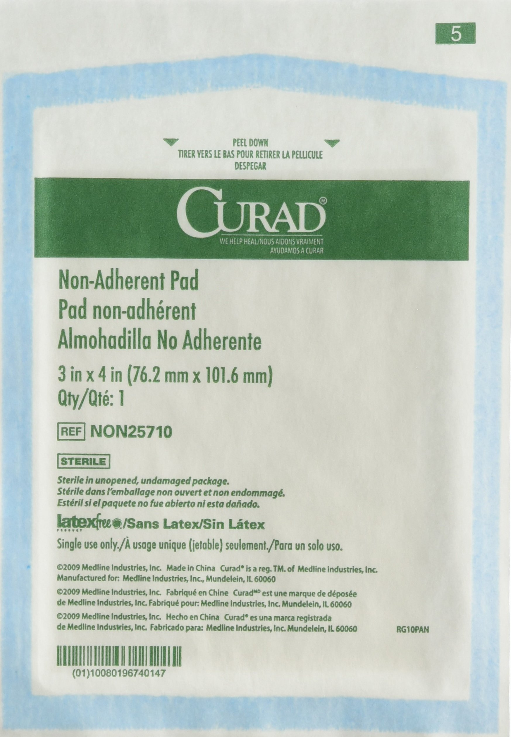 Curad Sterile Non-Adherent Pads (Pack of 100) for gentle wound dressing and absorption without sticking by Curad