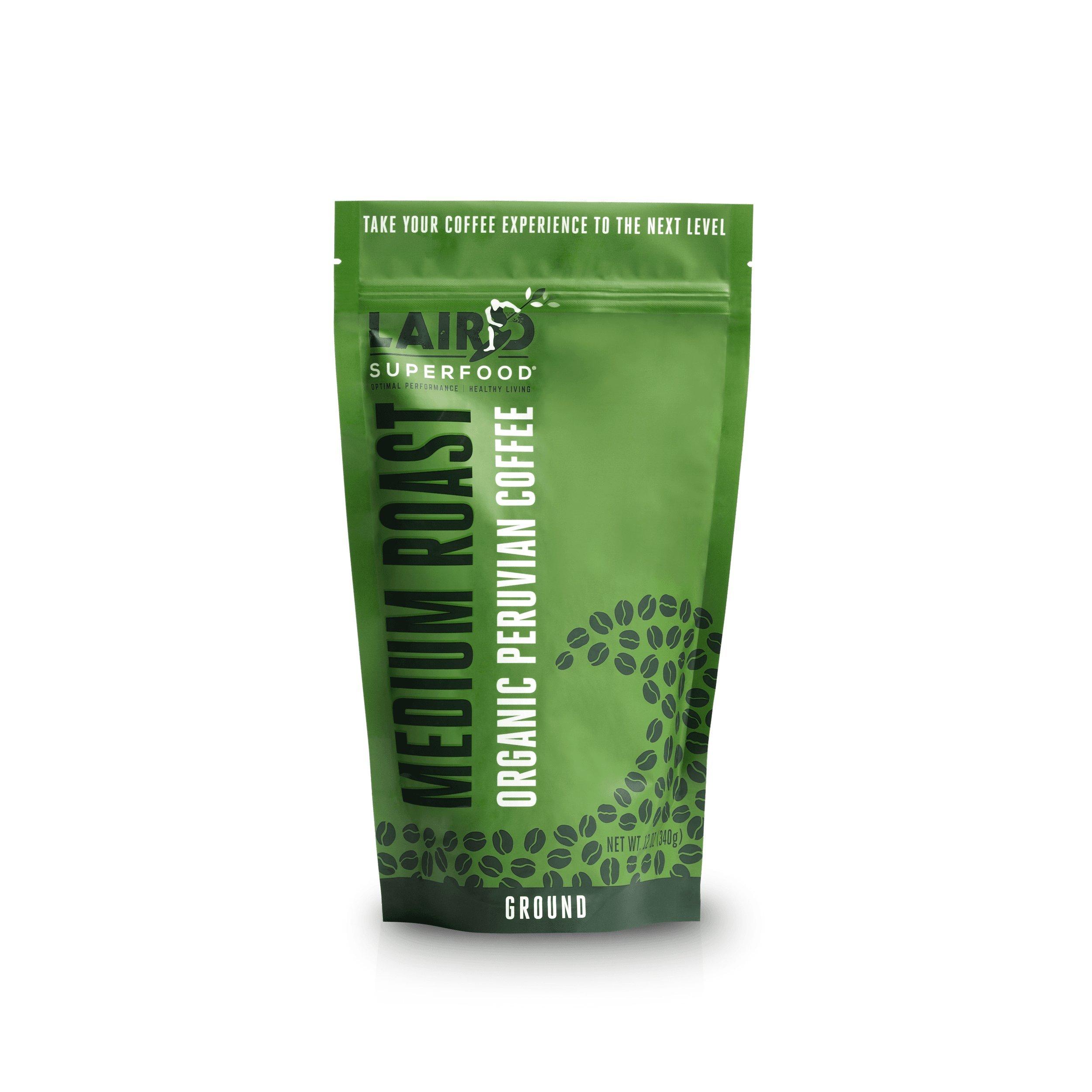 Laird Superfood Organic Ground Coffee   Medium Roast   Certified Fair Trade   Hand-Picked   Slow Roasted Beans - 12 oz Bag