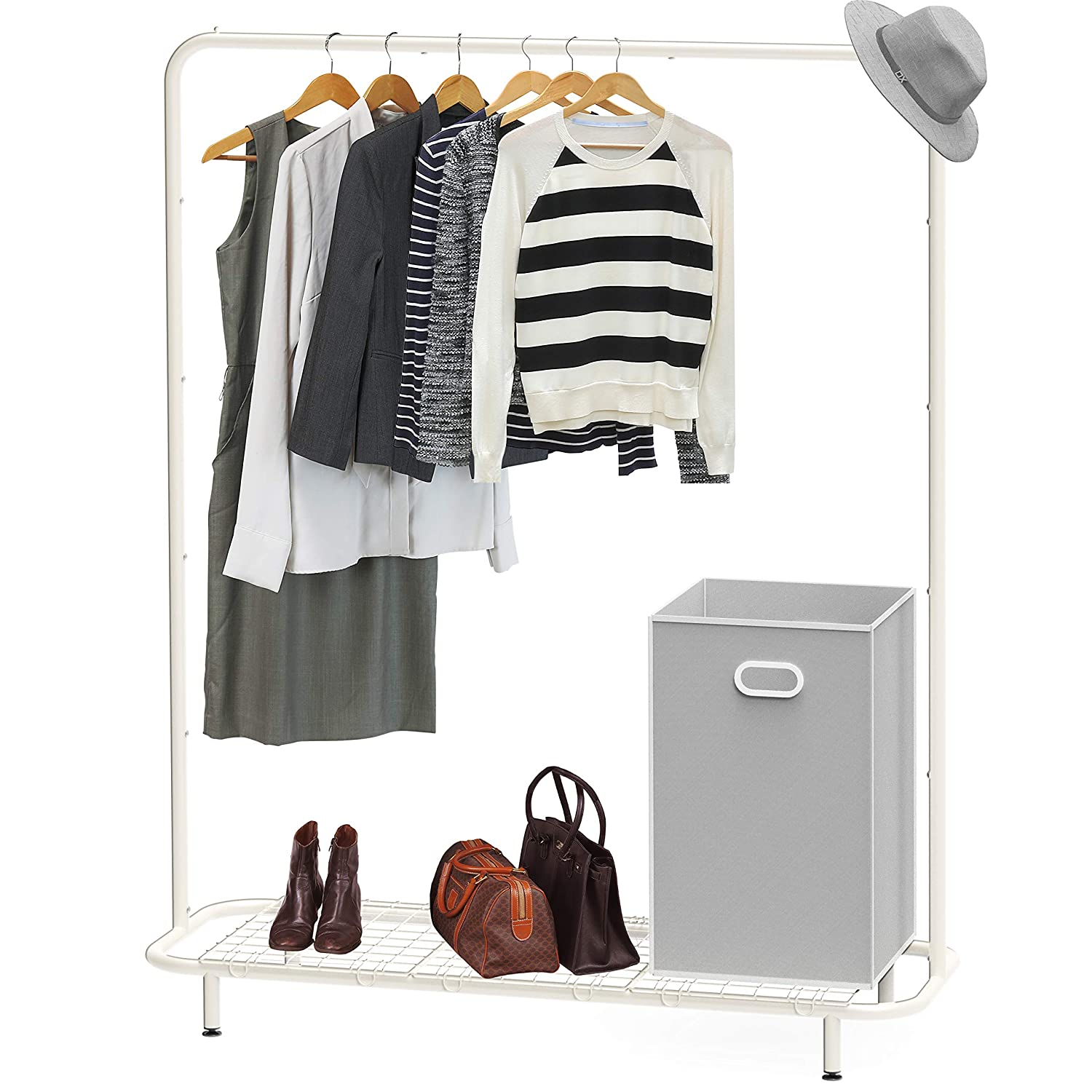Simple Houseware Industrial Pipe Clothing Garment Rack with Bottom Shelves, White