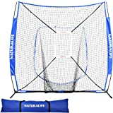 Naturalife 7x7ft Baseball and Softball Practice Net with Strike Zone Target for Practice Hitting, Pitching, Batting and Catching