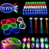 Kunmark 72PCs LED Light Up Toys Party Favors Glow in The Dark Party Supplies, Glow Stick Party Pack for Kids Including…