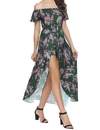 11480cab1b2 SE MIU Women Off Shoulder Multicolor Print High Low Romper Dress Jumpsuit