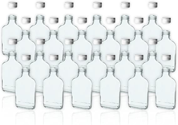 24 botellas de cristal de 100 ml con tapa de rosca vacías para llenar con aceites, whisky, ron, etc.