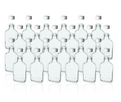 24 botellas de cristal de 100 ml con tapa de rosca vacías para llenar con aceites