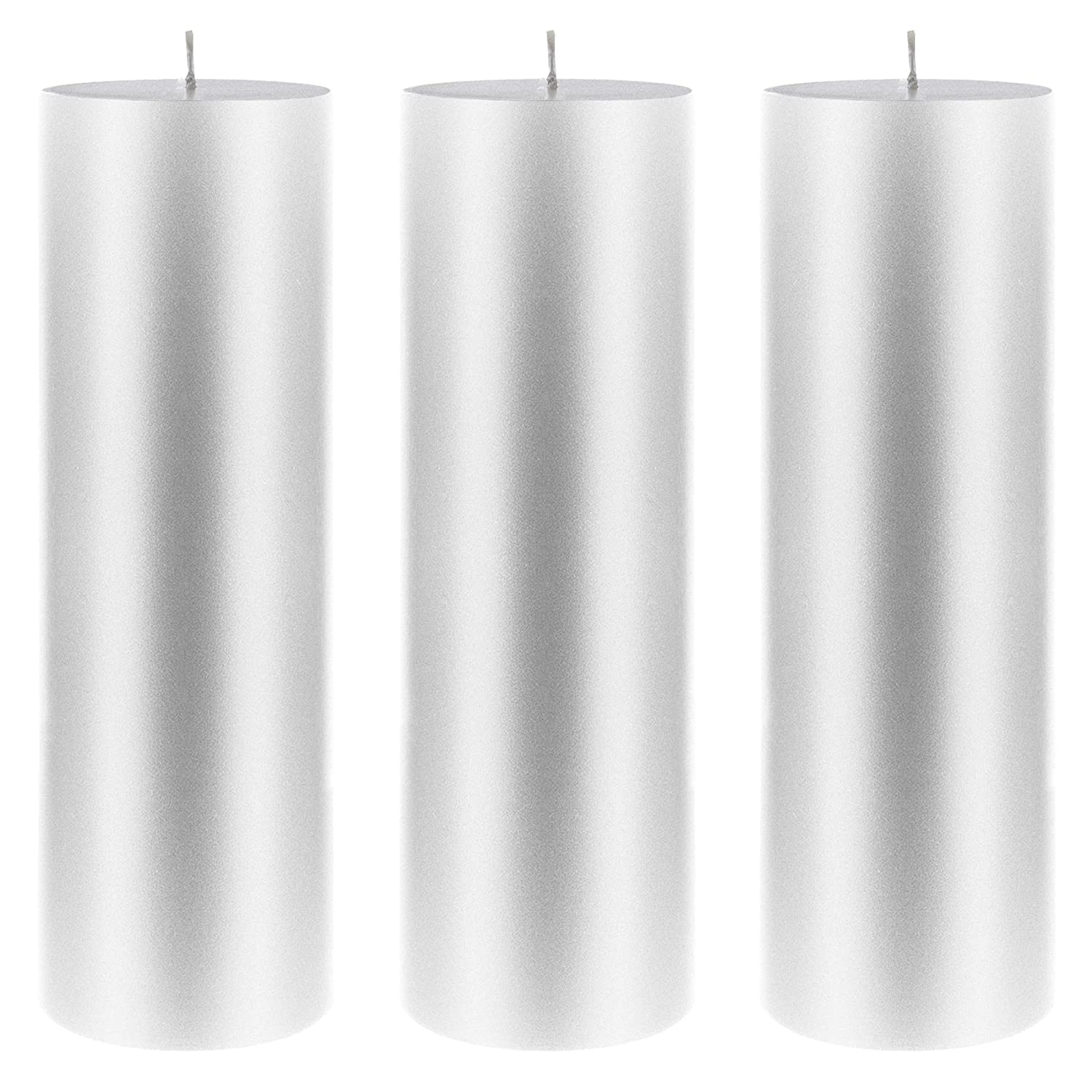 Hand Poured Premium Wax Candles 3 x 3 Mega Candles Unscented Silver Round Pillar Candle Party Favors /& More Celebrations for Home D/écor Baby Showers Wedding Receptions Birthdays