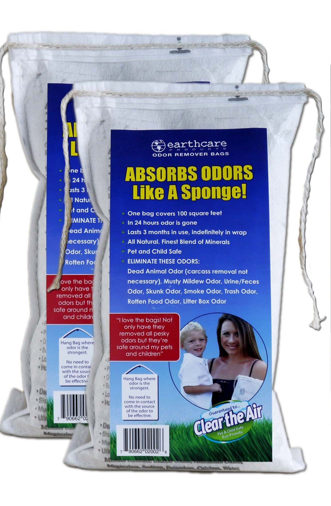 Earth Care Odor Removing Bag Stinky Smells Pet Odor etc (2 Pack) by Earth Care