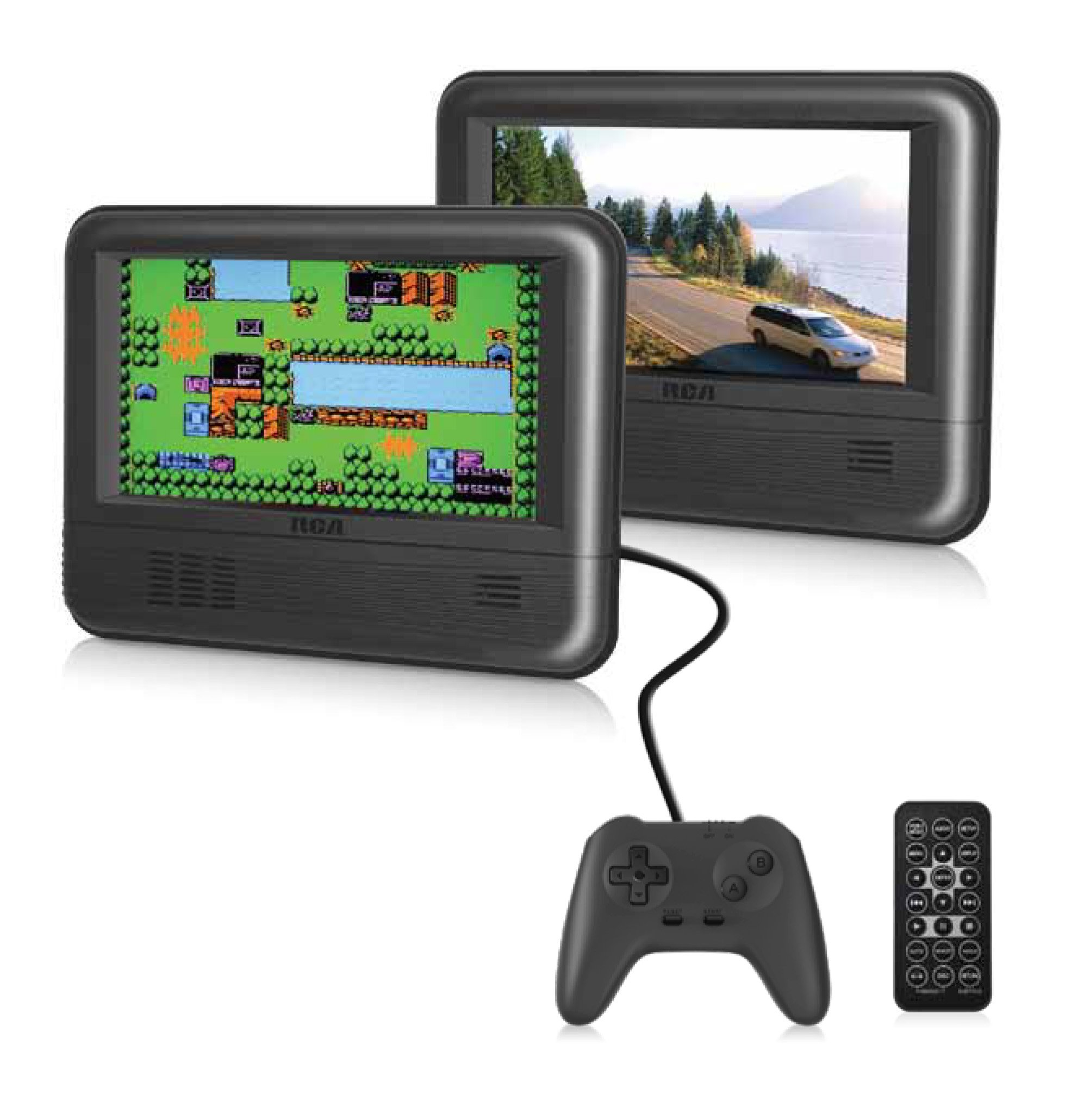 RCA Dual Screen Portable DVD Player & Game Pad System - Set of Two 7'' Screens, (6-Piece Kit) - (DRC62705E24G) by RCA