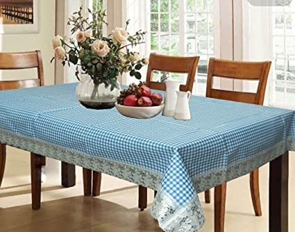 Kuber Industries Waterproof PVC 6 Seater Dining Table Cover - Blue