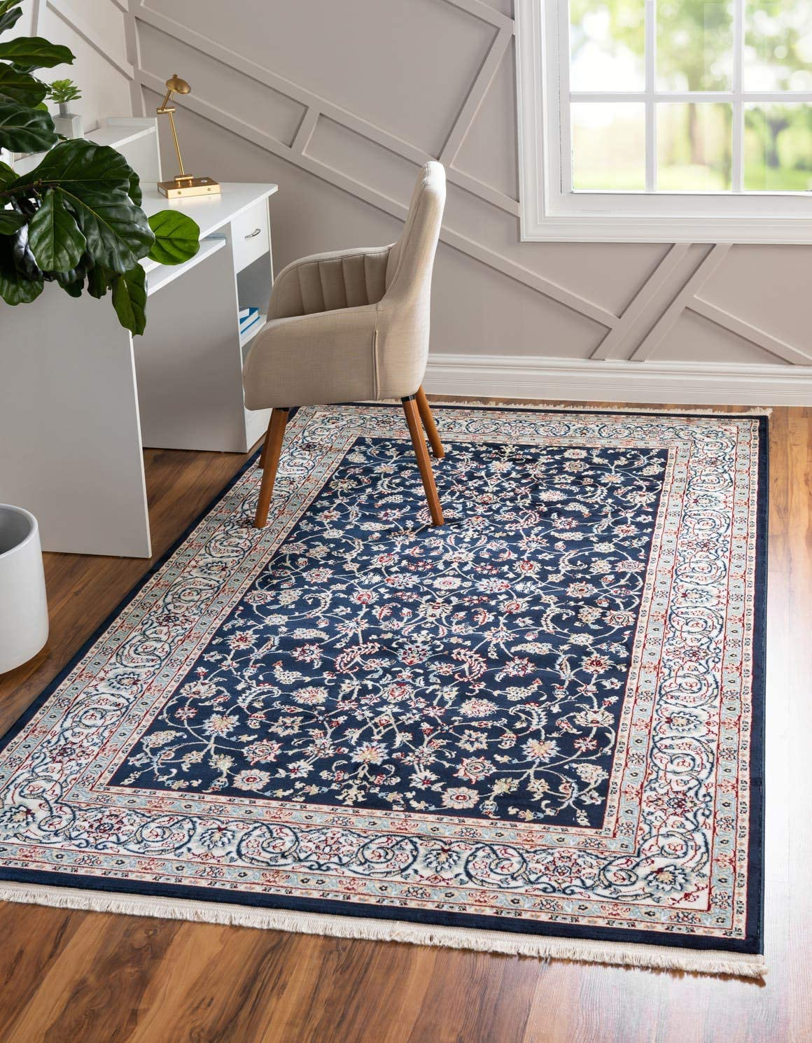 Unique Loom Narenj Collection Classic Traditional Medallion Textured Navy Blue Area Rug 13 0 x 19 8