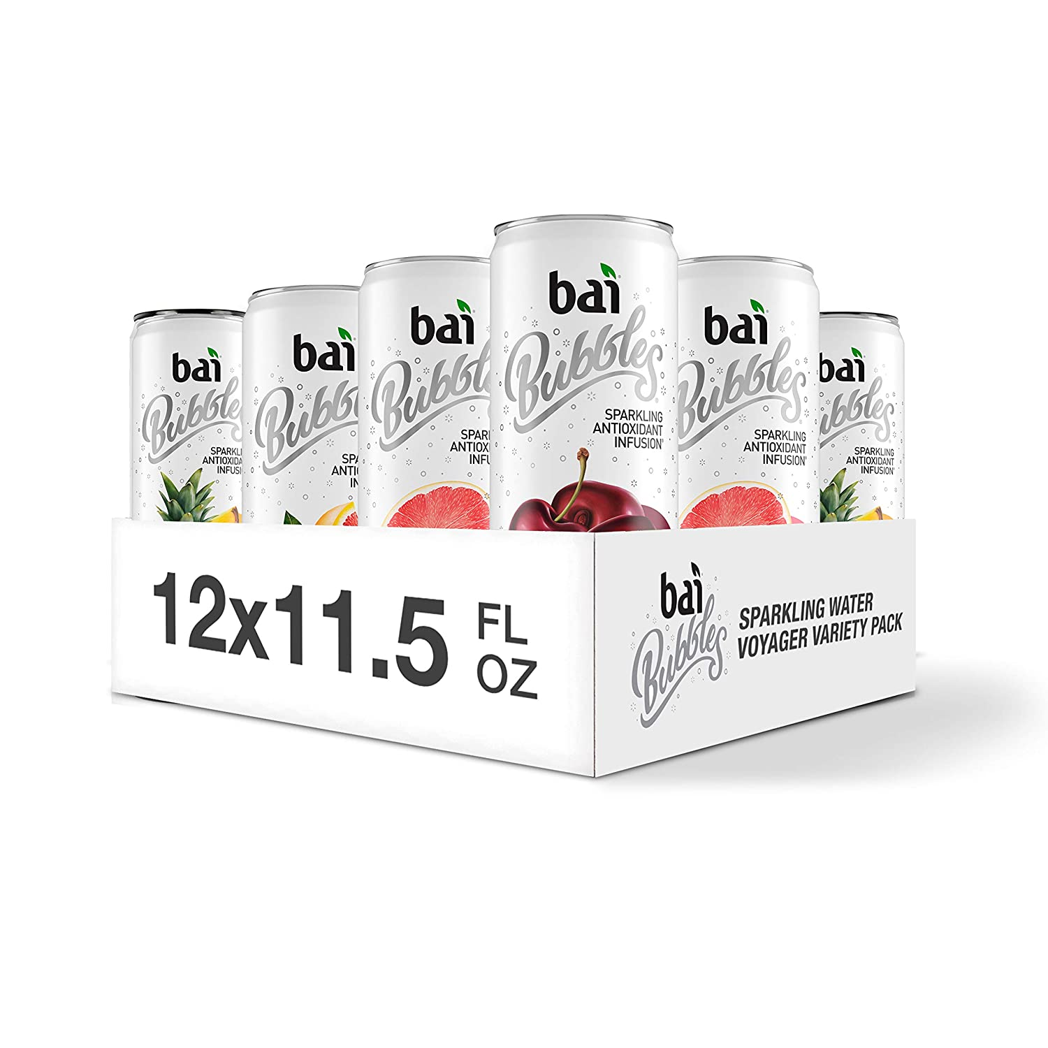 Bai Bubbles Sparkling Water, Voyager Variety Pack, Antioxidant Infused, 11.5 Fluid Ounce Cans, 12 Count, 3 each of Bolivia Black Cherry, Gimbi Pink Grapefruit, Peru Pineapple, Jamaica Blood Orange
