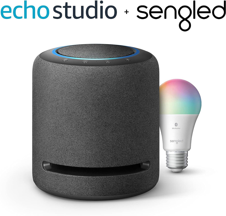 Echo Studio – High-fidelity smart speaker with Sengled Bluetooth Color bulb – Alexa smart home starter kit