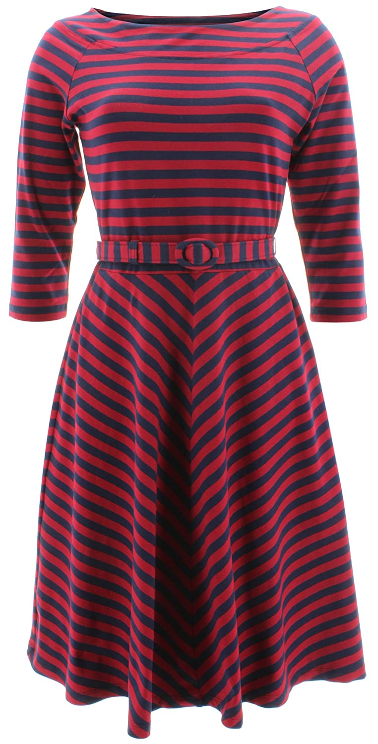 King Louie Women's Skater Striped 3/4 Sleeve Dress Small