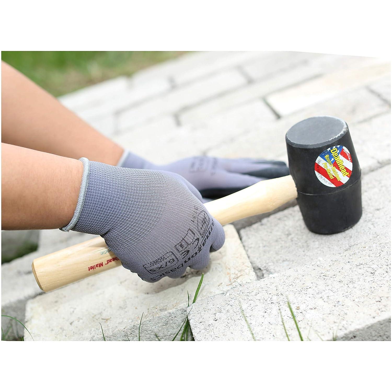 Grey 12-Pair Size 7 Nylon Liner Fiber Basics Latex Coated Work Gloves S