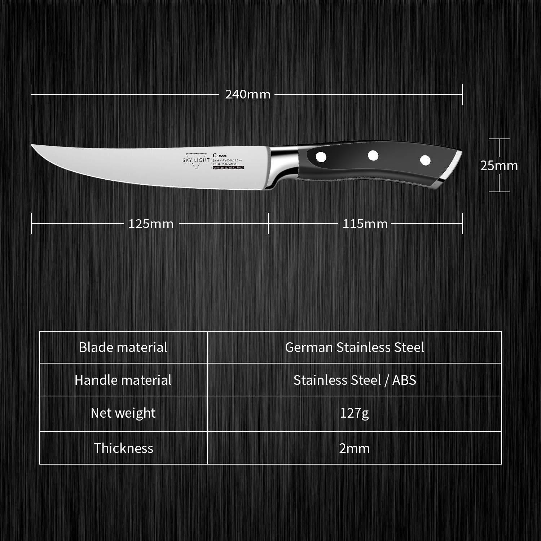 Cuchillo de Carne 4 Piezas Cuchillos Chuleteros 12 cm Cuchillo de Mesa, Borde Recto Alemana Alto Carbón Acero Inoxidable Mango Antideslizante Conjunto ...
