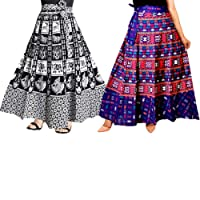 Mudrika Cotton Printed Women's Long Skirt Multi-Coloured_Free Size (Pack of 2 pcs)