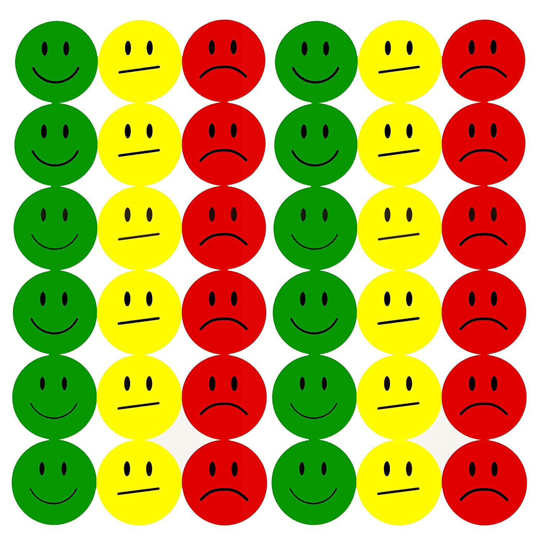 Oblique Unique 180 Yellow Smiley Face Sticker 2cm