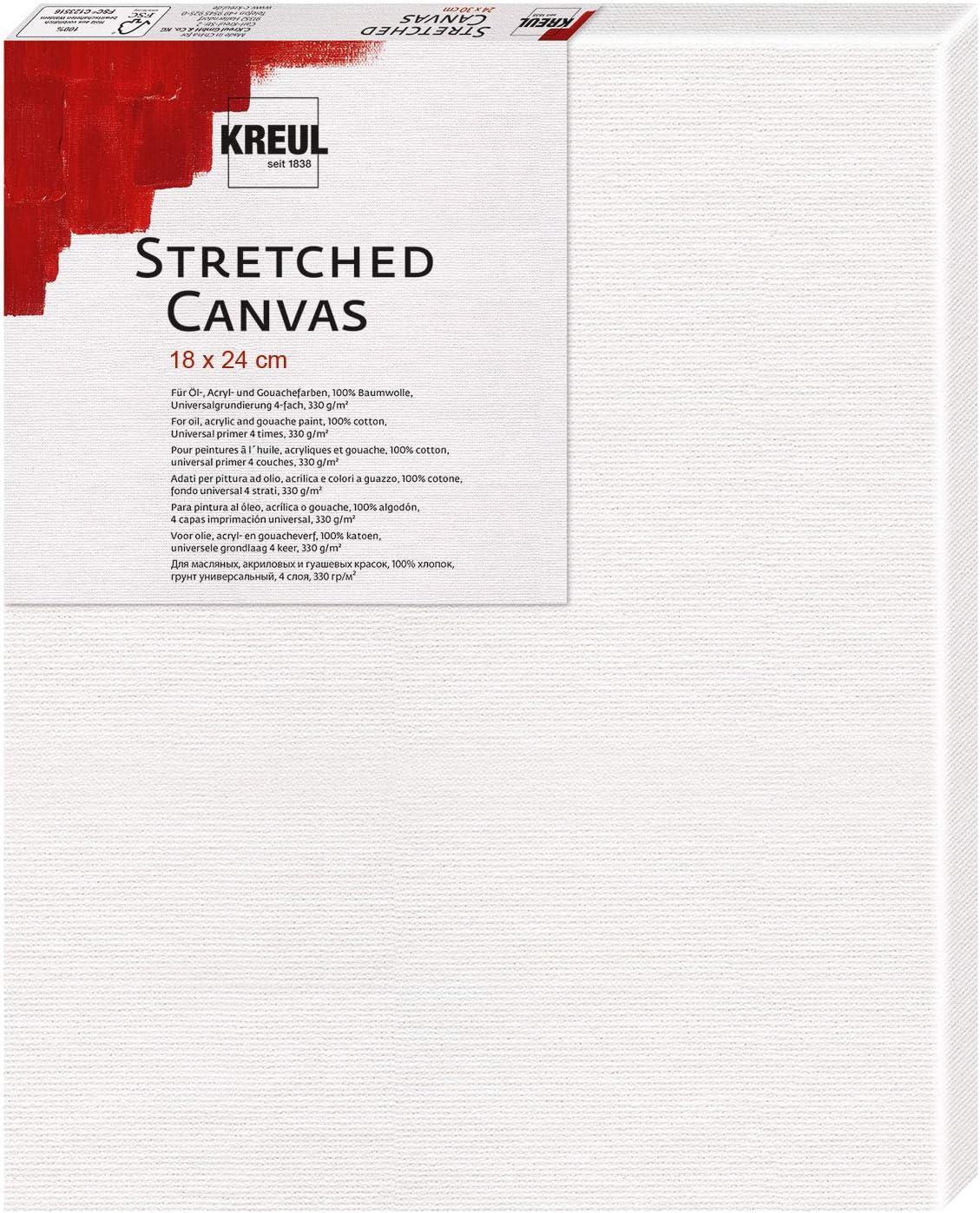 Kreul Canvas el/ásticas 18 x 24 cm Ideal acr/ílicos y gouach Bastidor de Calidad para Principiantes talla /única Color Blanco Lienzo de algod/ón 4 Capas imprimadas Aprox