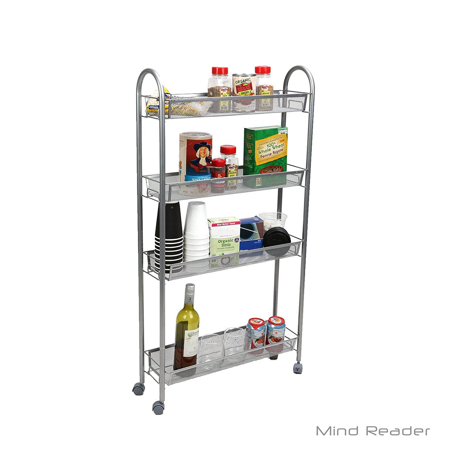 amazon com mind reader 4 tier slim and tall kitchen trolley utility
