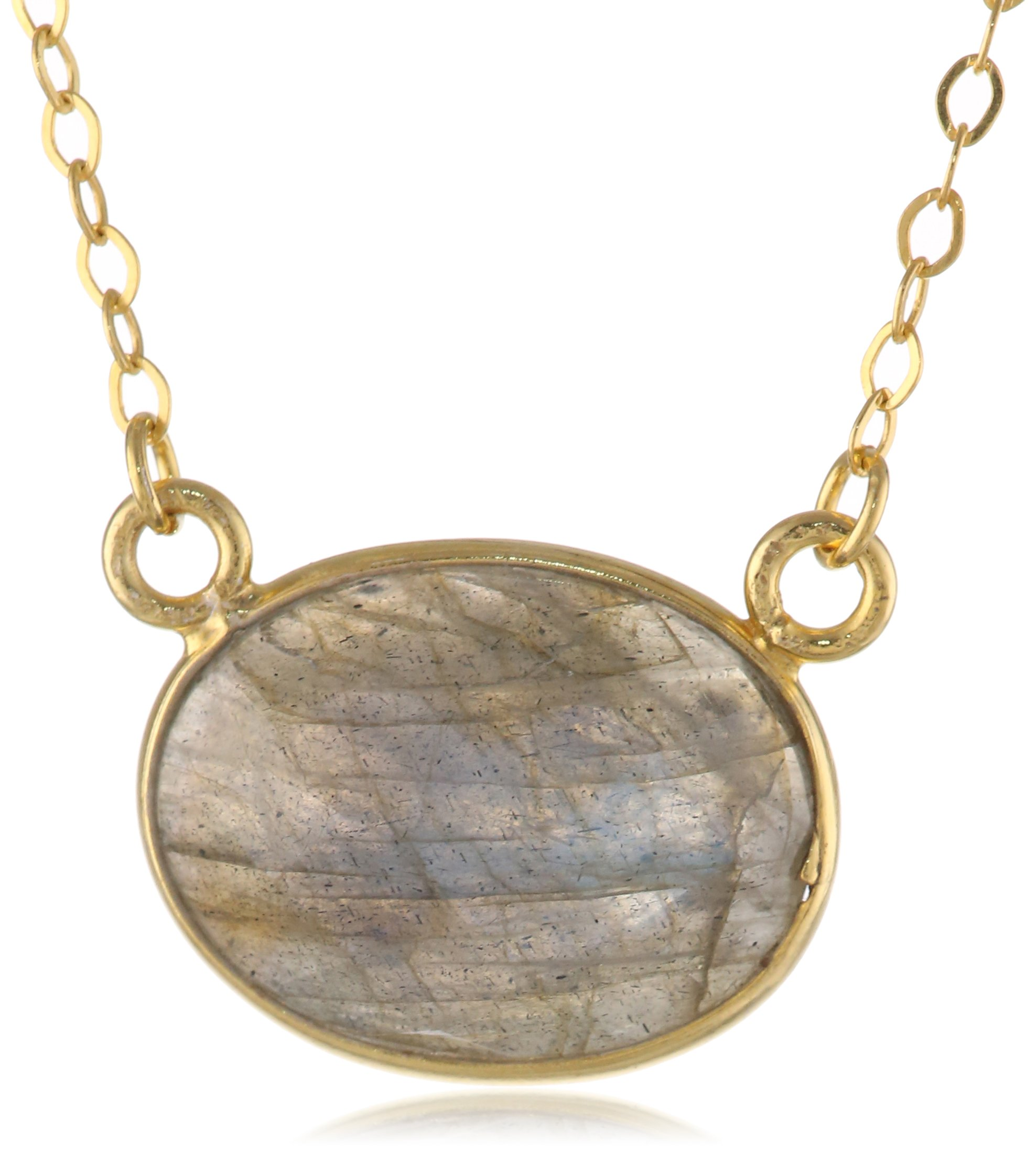 Gold-Plated Sterling Silver Labradorite Pendant Necklace, 18''