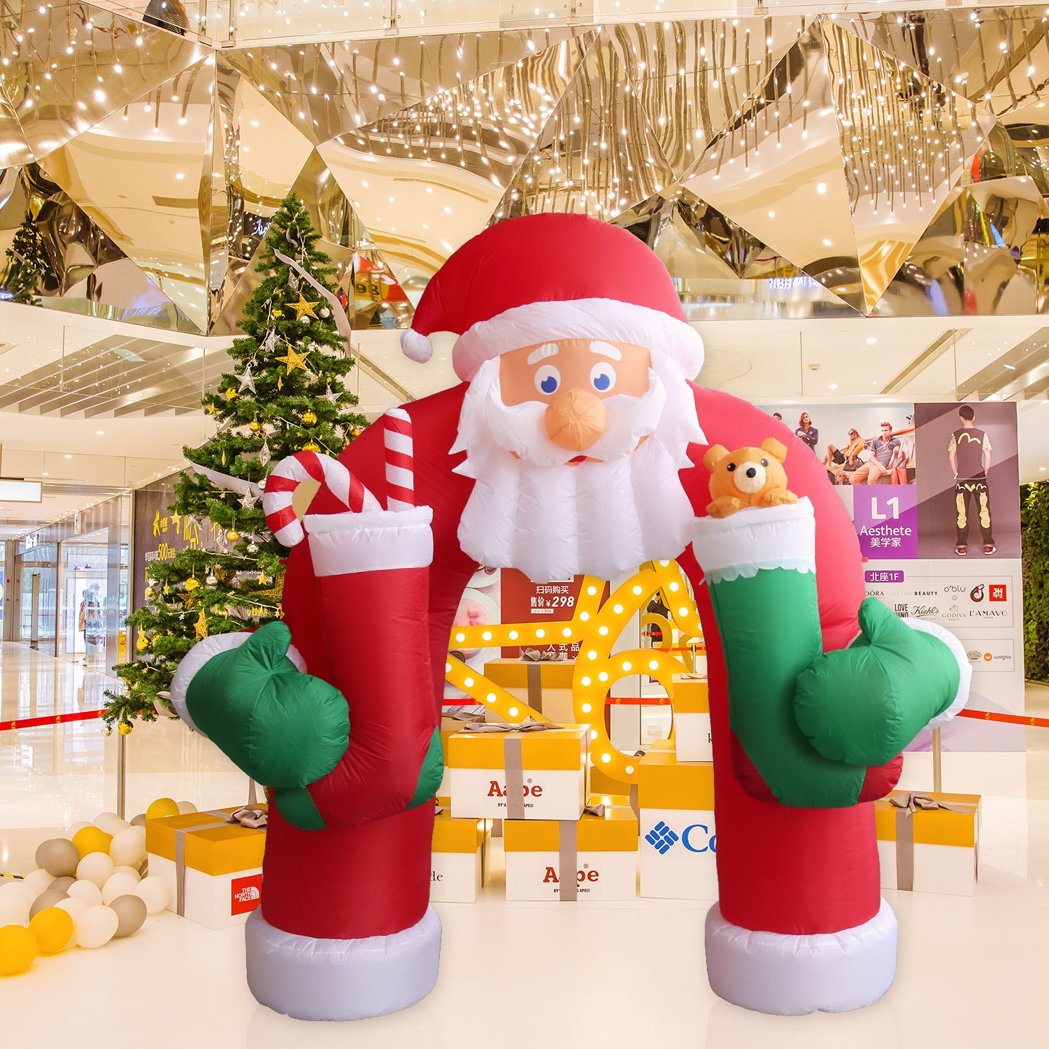 8 Airblown Inflatable Santa Penguin Coffee Shop Igloo: Christmas Inflatable Archways
