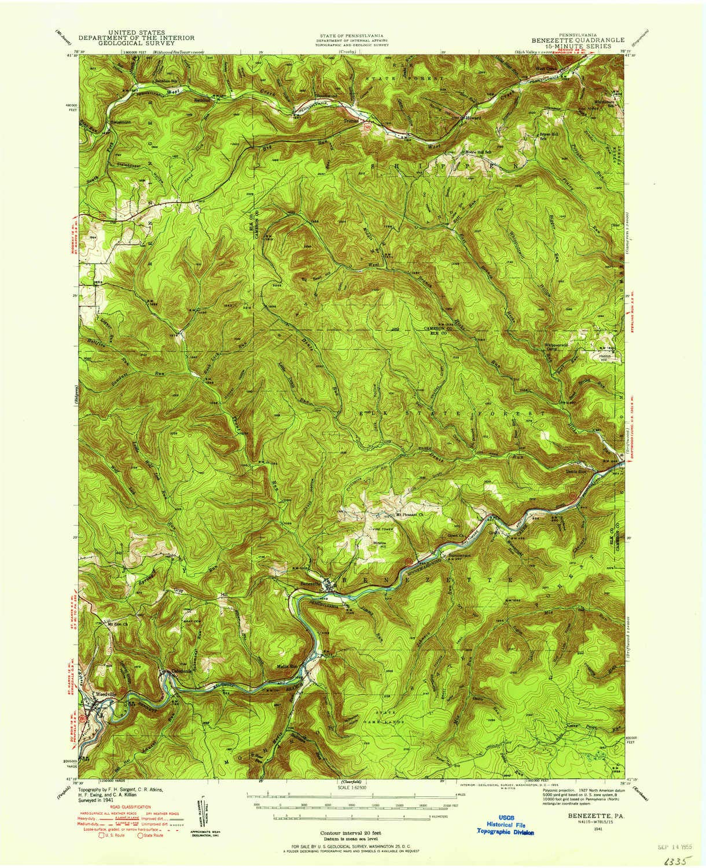 Amazon Com Yellowmaps Benezette Pa Topo Map 1 62500 Scale 15 X