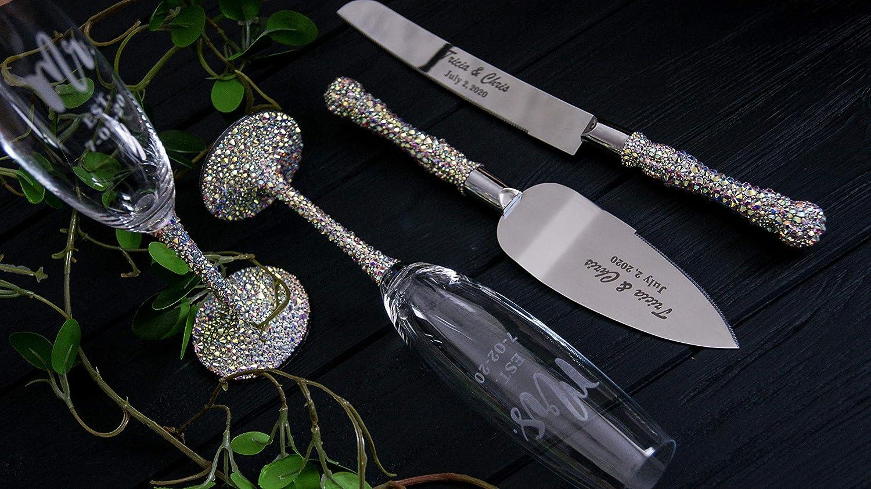 Wedding flutes crystal and cake server set Champagne glasses personalized Cake cutting set