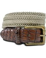 7917-TAN-Big&Tall - Marco LTD Men's Cotton Braided Croco Embossed Leather Tabs Dress Belt