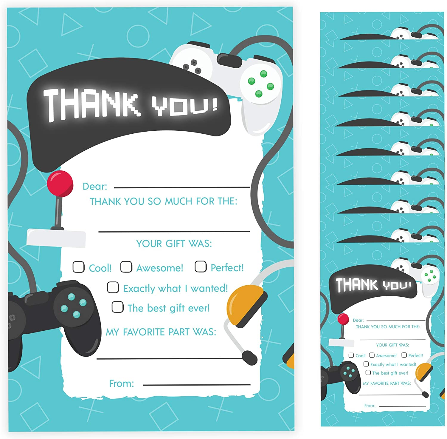10 Count With Envelopes Bulk Birthday Party Bridal Blank Graduation Kids Children Boy Girl Baby Shower 10ct. Fill-In Thank You Gamer Thank You Cards
