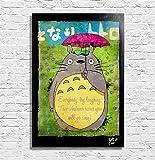 Mon voisin Totoro, Hayao Miyazaki du Studio Ghibli - Illustration originale encadrée, peinture, presse artistique, poster, toile imprimée, art contemporain, image sur toile, affiche d'art, bandes dessinées, anime, manga