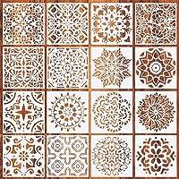 16 Pack (6x6 Inch) gelaagdheid Stencils DIY Craft geometrische patronen schilderij Stencil vloer wandtegel stof hout…