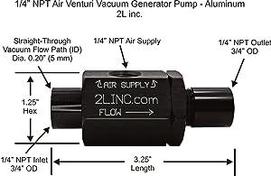 """2L inc. 1/4"""" NPT Air Venturi Vacuum Generator Pump (Anodized Aluminum)"""