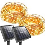 Amazon Price History for:[2 Packs]Homestarry Solar String Lights,Outdoor Garden Waterproof LED String Lights,8 Working Modes Cooper Wire Solar Lights for Patio,Christmas tree,Indoor Occasions(33ft,100LEDs,Warm White)