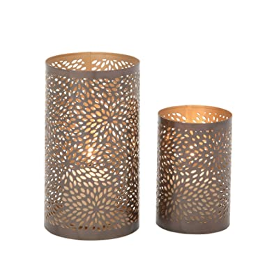 Deco 79 37034 Designer Metal Candle Lantern, Set of 2