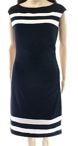 Lauren Ralph Lauren White Striped Women's Sheath Dress Black 6