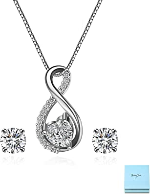 Freshwater Pearl Sterling Silver Crystal Heart NecklaceMatching S//S Earrings Set
