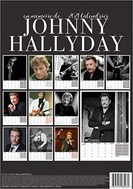 Calendrier 2021 Johnny Hallyday Johnny HALLYDAY 2021 Calendrier mural Format A3 grand format +