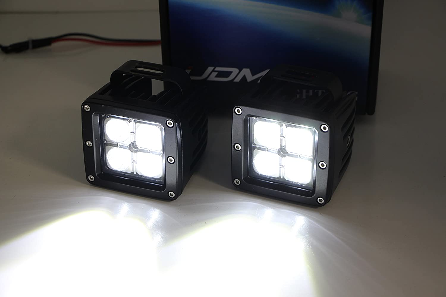 iJDMTOY Lower Grille LED Pod Light Fog Lamp Kit For 2005-07 Ford F250 F350 F450 Excursion Includes 2 OEM Foglamp Location Mounting Brackets /& On//Off Switch Wiring Kit 20W CREE LED Cubes